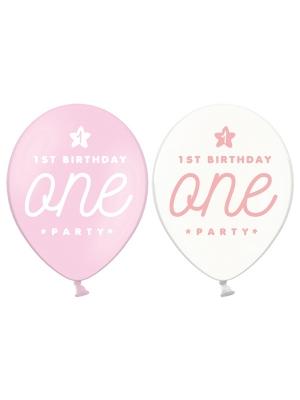 6 gab, Baloni One, gaiši  rozā, 30 cm
