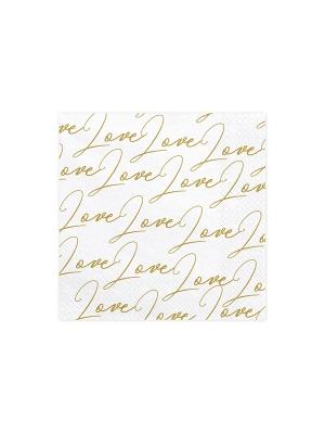 20 gab, Salvetes Mīlestība, baltas ar zeltu, 33 x 33 cm