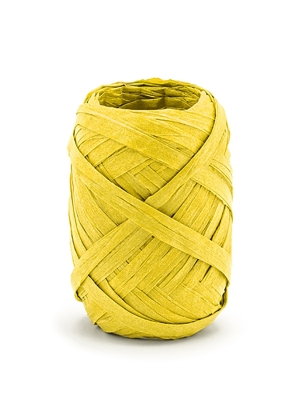 Raffia ribbon, 5mm/10m, yellow
