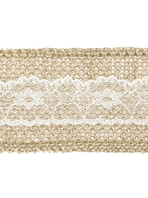 Burlap tape with lace, 5 x 500 cm