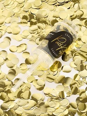 Confetti push pop, gold foil, 4,8 x 18 cm