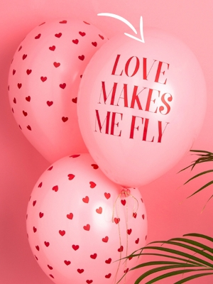 Balons Love makes me fly, gaiši rozā ar sarkanu, 30 cm