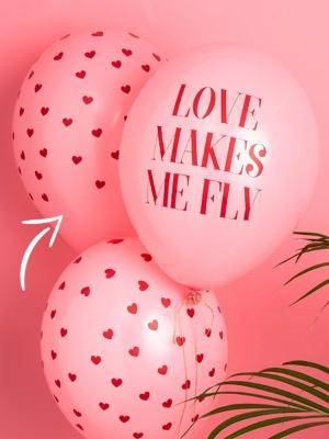 Шар сердечки, светло-розовый с красным, 30 см