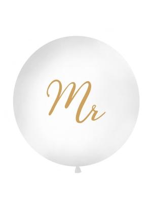1 metra balons Mr, balts ar zeltu