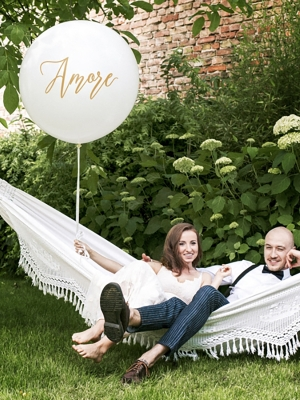 1 m Balloon, Amore, white with gold
