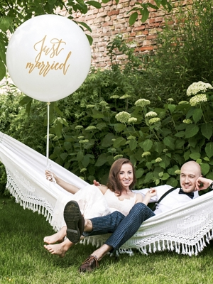 1 metra balons Just married, balts ar zeltu