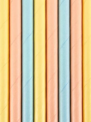 10 gab, Papīra salmiņi Vasaras laiks, dažādas krāsās, 19.5 cm