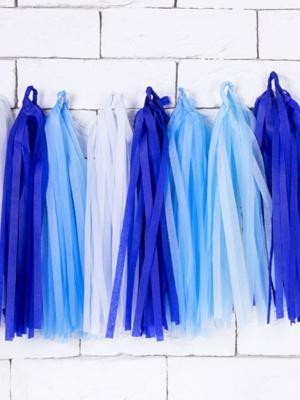 12 pušķu virtene, zilie toņi, 30 x 150 cm