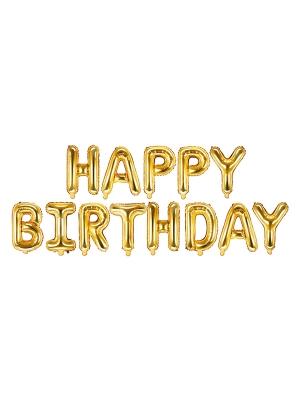 Folijas balons, Daudz laimes dzimšanas dienā, zelta, 340 x 35 cm
