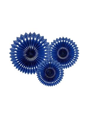 3 gab, Dekoratīvās rozetes, tumši zilas, 20, 25, 30 cm