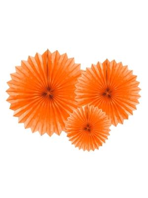 3 gab, Dekoratīvās rozetes, oranžas, 20, 30, 40 cm