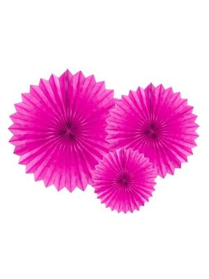 3 gab, Dekoratīvās rozetes, tumši rozā, 20, 30, 40 cm