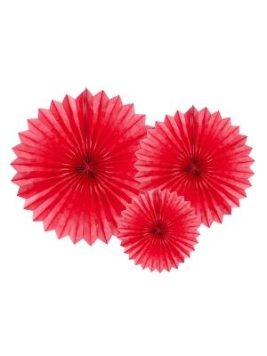 3 gab, Dekoratīvās rozetes, sarkanas, 20, 30, 40 cm