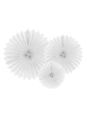 3 pcs, Tissue fan, white, 20, 30, 40 cm