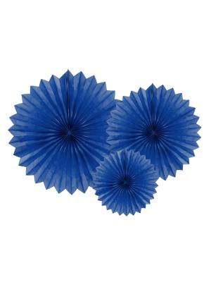 3 gab, Dekoratīvās rozetes, tumši zilas, 20, 30, 40 cm