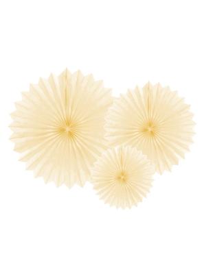 3 pcs, Tissue fan, light cream, 20, 30, 40 cm