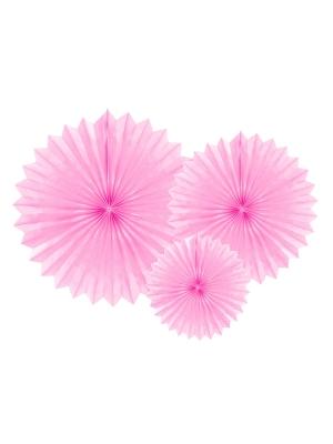 3 gab, Dekoratīvās rozetes, gaiši rozā, 20, 30, 40 cm