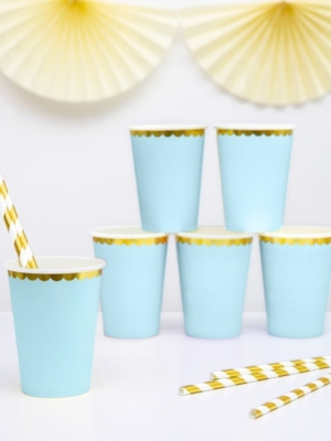 6 pcs, Cups, light blue, 220 ml