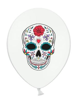 6 pcs, Balloons Dia de los Muertos, White, 30 cm