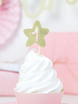 6 pcs, Cupcake toppers 1st Birthday - Stars, gold, 10 cm