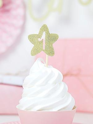 6 gab, Iesmiņi 1 Dzimšanas diena - zvaigznes, zelta, 10 cm