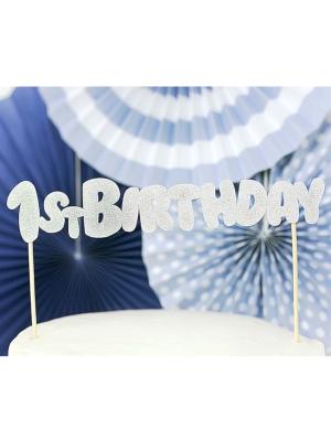 Cake topper 1st Birthday, silver, 19.5 cm
