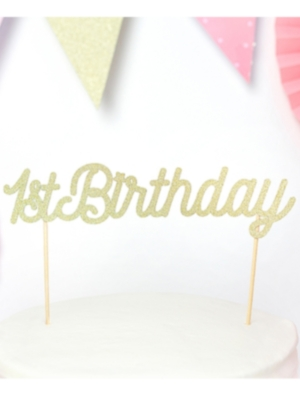 Tortes dekors 1st Birthday, zelta, 21 cm