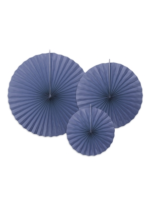3 gab, Dekoratīvās rozetes, tumši zilas, 23, 32, 40 cm