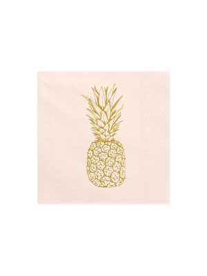 20 pcs, Napkins Aloha - Pineapple, light peach, 33 x 33 cm
