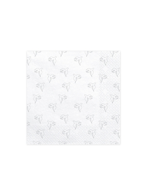 20 pcs, Napkins First Communion - Dove, white with silver, 33 x 33 cm