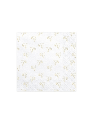 20 pcs, Napkins First Communion - Dove, white with gold, 33 x 33 cm