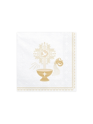 20 gab, Salvetes Kristībām, baltas ar zeltu, 33 x 33 cm