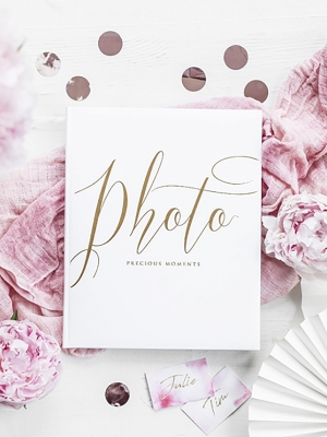 22 pages, Photo album, white with gold, 20 x 24.5 cm