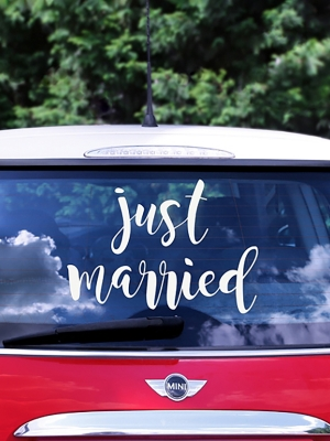 Wedding day car sticker, 33 x 45 cm