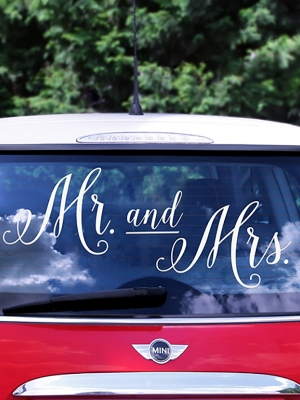 Wedding day car sticker, 12 - 31 cm