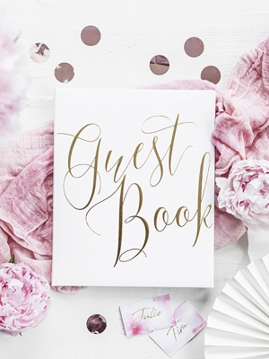 22 pages, Guest Book, white with gold , 20 x 24.5 cm