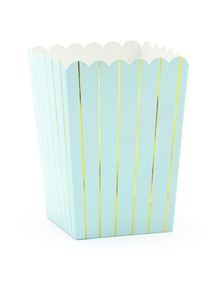 6 pcs, Boxes for popcorn Stripes, light blue with gold, 7 x 7 x 12.5 cm