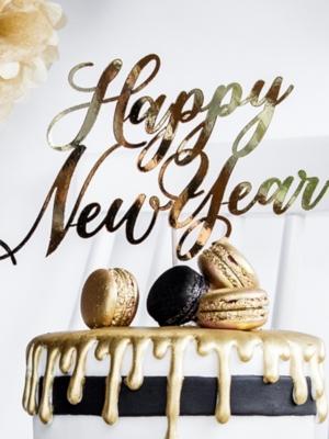 Tortes iesmiņš Happy New Year, zelta, 24 cm