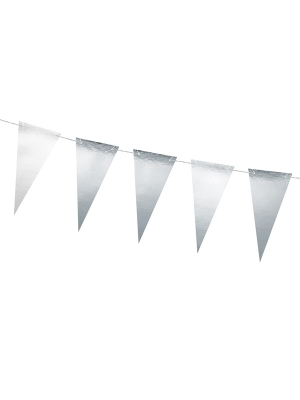 Bunting New Year`s Eve - 14 flags, silver, 13 cm x 2.15 m