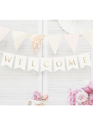 Banner Welcome, white, 15 x 95 cm