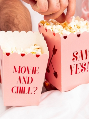 6 pcs, Boxes for popcorn Valentines, 8.5 x 8.5 x 12.5 cm