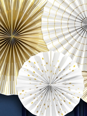 4 gab, Dekoratīvās rozetes, baltas ar zeltu, 40 cm, 32 cm, 23 cm