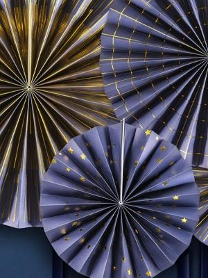 4 gab, Dekoratīvās rozetes, tumši zilas ar zeltu, 40 cm, 32 cm, 23 cm