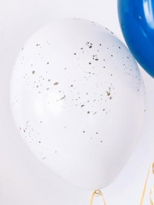 6 gab, Baloni caurspīdīgi balti ar zeltu, 30 cm