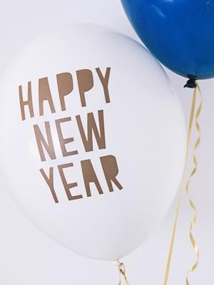 6 gab, Baloni Laimīgu Jauno gadu, balts ar zeltu, 30 cm