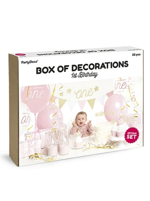 Ballīšu komplekts - Pirmā dzimsanas diena, rozā