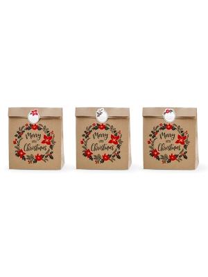 3 gab, Dāvanu maisiņi Priecīgus Ziemassvētkus, kraft papīrs ar rakstu, 25 x 11 x 27 cm