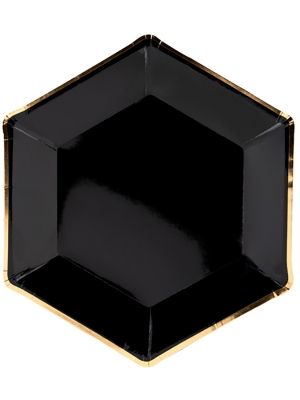 6 gab, šķīvīši, melni ar zeltu, 23 cm