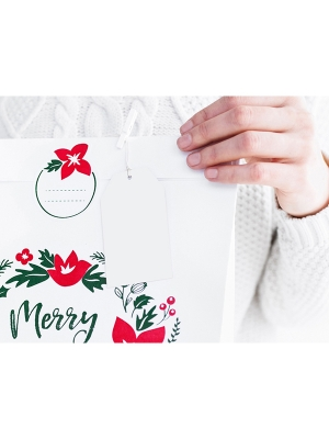 10 gab, Dekoratīvās birkas Priecīgus Ziemassvētkus, baltas, 5 x 8.5 cm