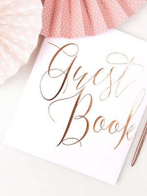 22 pages, Guest Book, white with a rose gold, 20 x 24.5 cm